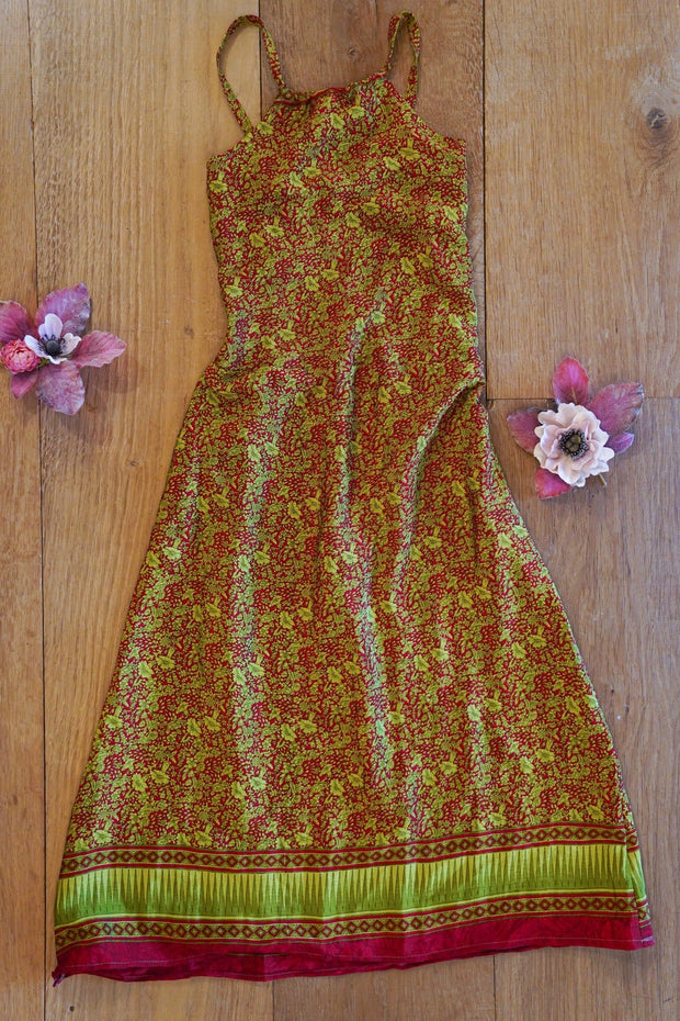 Long Bohemian girl's dress, made from recycled fabrics. Mamma Nomad: Sustainable yet Affordable Fashion for Children.