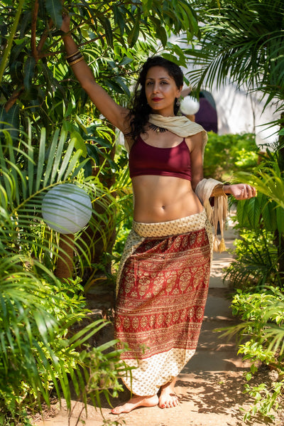 Colorful sustainable fashion. These beautiful bohemian style Harem-trousers that look like a skirt, are made from recycled fabrics. Mama Nomad creates with ethical and environment friendly values.