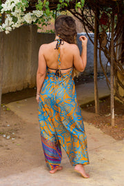Bohemian style Yellow Blue harem jumpsuit made from recycled fabric by Mamma Nomad. Eco-friendly, Sustainable & Ethical clothing.