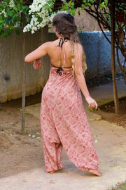 Bohemian style Pink harem jumpsuit made from recycled fabric by Mamma Nomad. Eco-friendly, Sustainable & Ethical clothing.