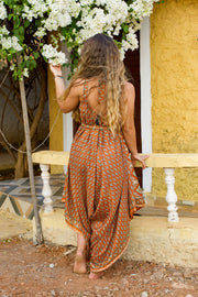 Beautiful Orange Elegant Boho Jumpsuit made from recycled fabrics by Mamma Nomad. Eco-friendly Sustainable & Ethical clothing