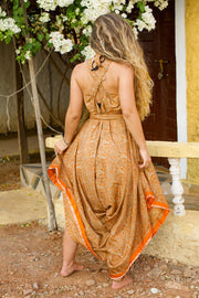 Beautiful Orange Elegant Boho Jumpsuit made from recycled fabric by Mamma Nomad. Eco-friendly Sustainable & Ethical clothing