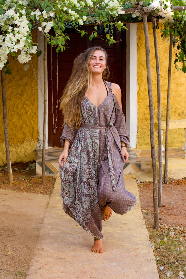 Beautiful Grey Elegant Boho Jumpsuit made from recycled fabric by Mamma Nomad. Eco-friendly Sustainable & Ethical clothing