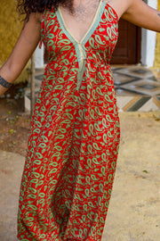 Beautiful Red Elegant Boho Jumpsuit made from recycled fabrics by Mamma Nomad. Eco-friendly Sustainable & Ethical clothing