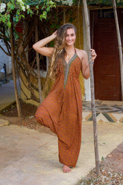 Beautiful Brown Elegant Boho Jumpsuit made from recycled fabrics by Mamma Nomad. Eco-friendly Sustainable & Ethical clothing