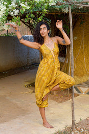 Bohemian style Yellow harem jumpsuit made from recycled fabric by Mamma Nomad. Eco-friendly, Sustainable & Ethical clothing.