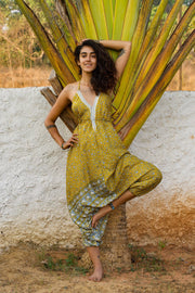 Beautiful Yellow Elegant Boho Jumpsuit made from recycled fabrics by Mamma Nomad. Eco-friendly Sustainable & Ethical clothing