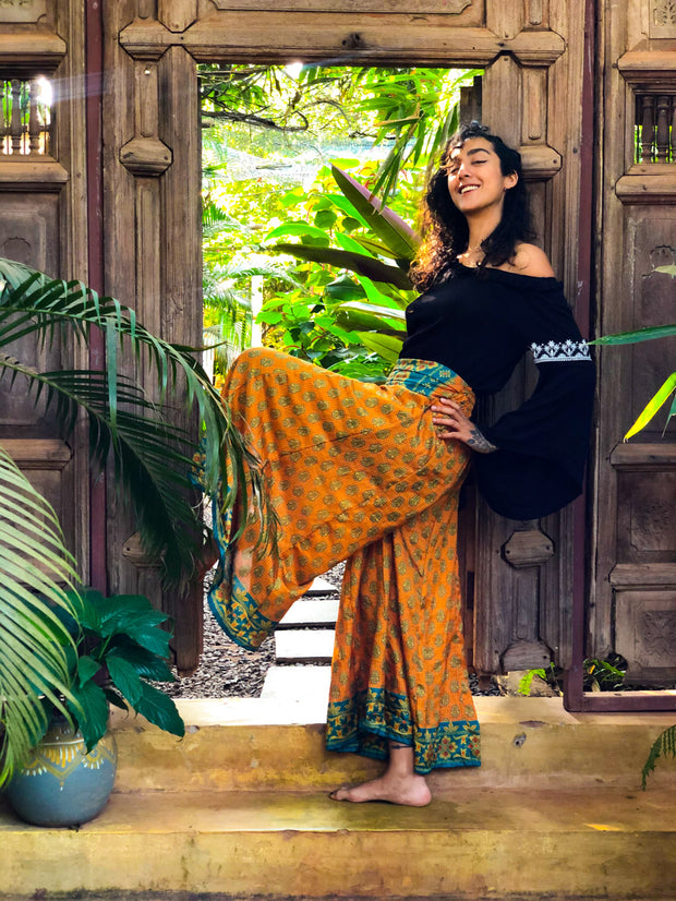 Elegant Orange Blue Hippie Style pants made from recycled fabric by Mamma Nomad. Eco-friendly Sustainable & Ethical clothing