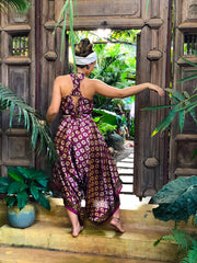 Funky Airy Purple Jumpsuit made of recycled fabrics. Size XS to XL. Mama Nomad creates sustainable fashion with ethical values