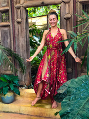 Boho Airy Pink Jumpsuit made of recycled fabrics. Size XS to XL. Mama Nomad creates sustainable fashion with ethical values
