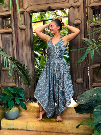 Boho Airy Blue Jumpsuit made of recycled fabrics. Size XS to XL. Mama Nomad creates sustainable fashion with ethical values