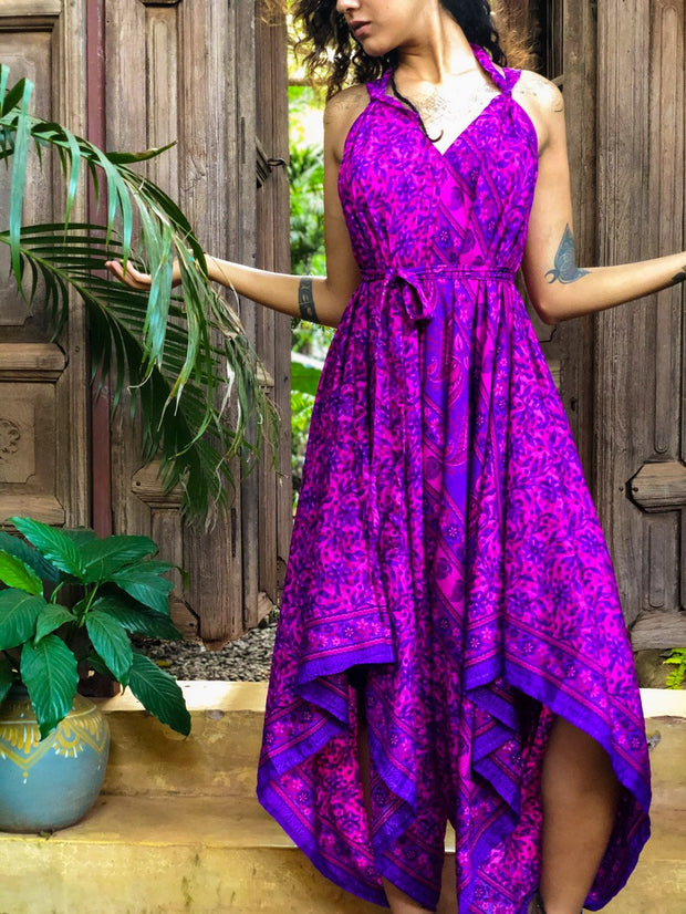 Funky Airy Purple Jumpsuit made of recycled fabrics. Size XS to XL. Mama Nomad creates with ethical & eco-friendly values
