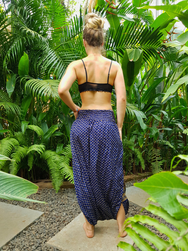 Mamma Nomad Harem Pants made from recycled fabrics.
