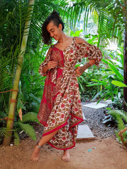 Mamma Nomad Jumpsuit with sleeves, handmade from recycled fabrics. Environmental friendly clothing.