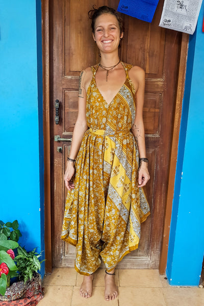 Colorful Yellow Jumpsuit made from recycled fabrics for all kinds of beautiful bodies. Plus sized to petite.Mamma Nomad: Bohemian eco-friendly fashion handmade with love.