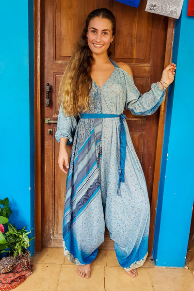 Colorful Jumpsuit made from recycled fabrics for all kinds of beautiful bodies. Plus sized to petite. Bohemian eco-friendly fashion handmade with love.