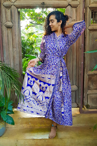 Long blue kimono dress made from repurposed fabrics. Mamma Nomad: Sustainable yet Affordable handmade Fashion