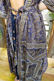 Long navy blue kimono dress made from repurposed fabrics. Mamma Nomad: Sustainable yet Affordable handmade Fashion