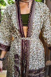 Long brown Beige kimono dress made from repurposed fabrics. Mamma Nomad: Sustainable yet Affordable handmade Fashion