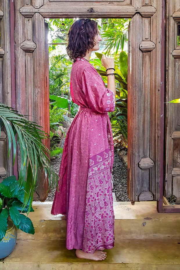 Long pink kimono dress made from repurposed fabrics. Mamma Nomad: Sustainable yet Affordable handmade Fashion