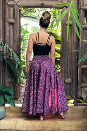 Epic purple Hippie pants slash skirt made from recycled fabrics. Mamma Nomad; sustainable yet affordable fashion.