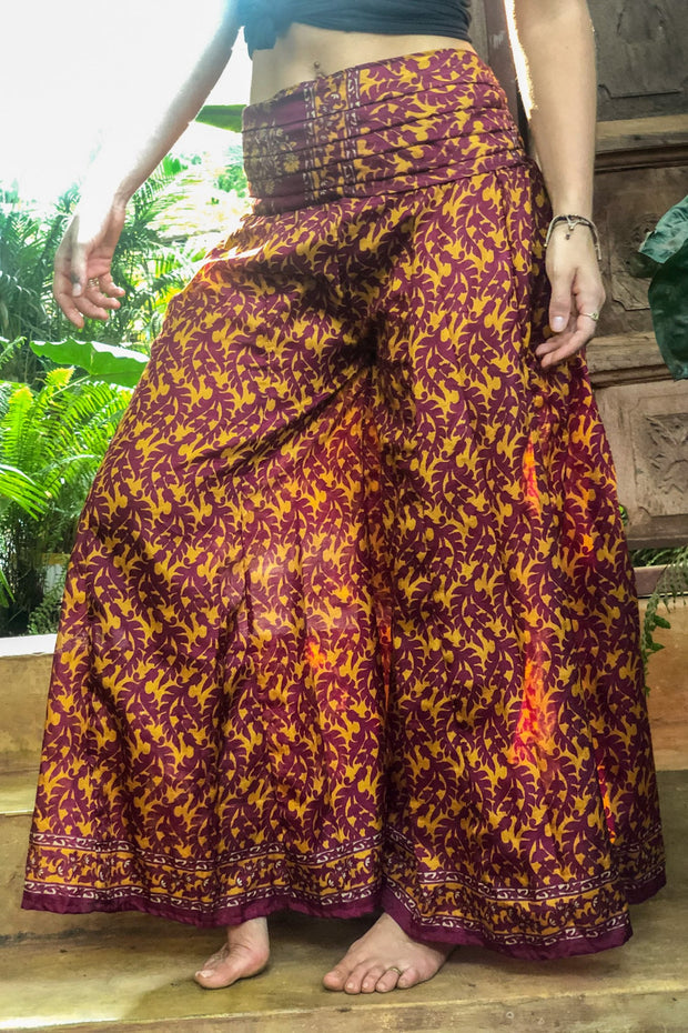 Bordeaux hippie pants slash skirt. Mama Nomad makes these garments from recycled fabrics. Beautiful gypsy flowy pants that look like a skirt! We create the clothing with environment & ethical eco friendly values.