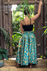 Blue trousers that look like a skirt. Sustainable, eco friendly fashion. Mamma Nomad - Mama Nomad: Ethical slow fashion.