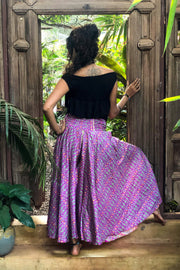 Purple trousers or pants that look like a skirt. Sustainable, eco friendly fashion. Mamma Nomad - Mama Nomad: Ethical slow fashion.
