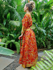 Beautiful long orange Kimono jacket with belt made from recycled fabrics. Mamma Nomad: Slow ethical fashion brand