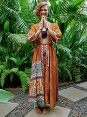 Beautiful long orange and red Kimono jacket with belt made from recycled fabrics. Mamma Nomad: Slow ethical fashion brand