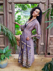 Beautiful long purple silver Kimono jacket with belt made from recycled fabrics. Mamma Nomad: Slow ethical fashion brand
