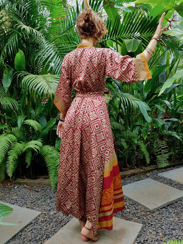Beautiful Red Long Kimono Made from recycled fabrics. Mamma Nomad: Slow ethical fashion brand