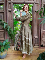 Beautiful long green Kimono jacket with belt made from recycled fabrics. Mamma Nomad: Slow ethical fashion brand