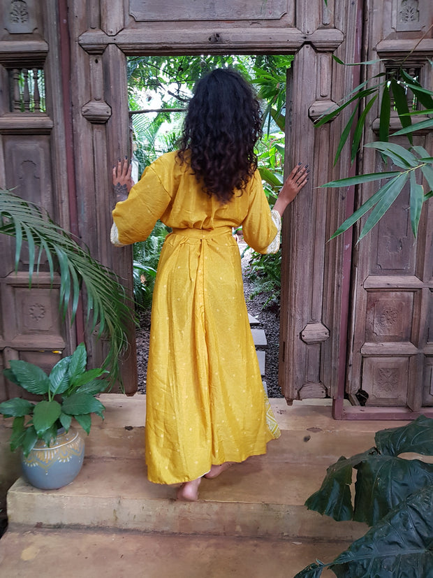 Beautiful yellow long Kimono jacket made from recycled fabrics. Mamma Nomad: Slow ethical fashion brand