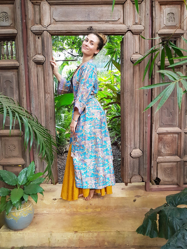 Beautiful long blue Kimono jacket made from recycled fabrics. Mamma Nomad: Slow ethical fashion brand