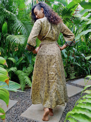 Beautiful green Long Kimono Made from recycled fabrics. Mamma Nomad: Slow ethical fashion brand