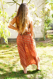 Beautiful Orange and Green handmade harem pants skirt with print. Made from recycled fabrics. Mamma Nomad: Sustainable fashion