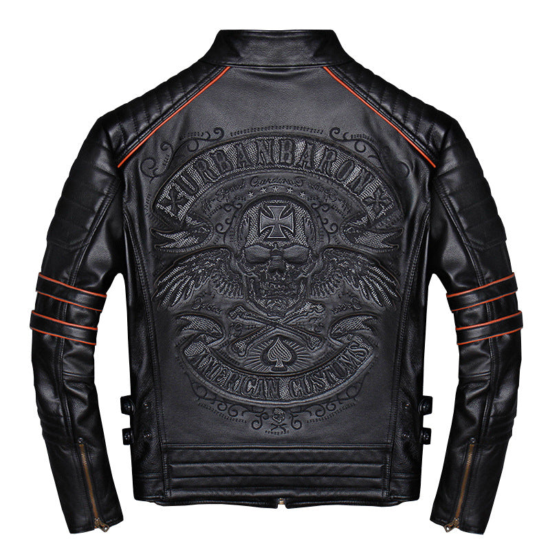 Embroidered Skull Motorcycle Slim-fit Leather Jacket