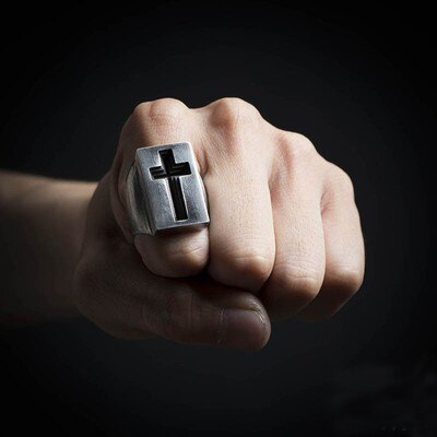 Stainless Steel Cross Lucky Ring