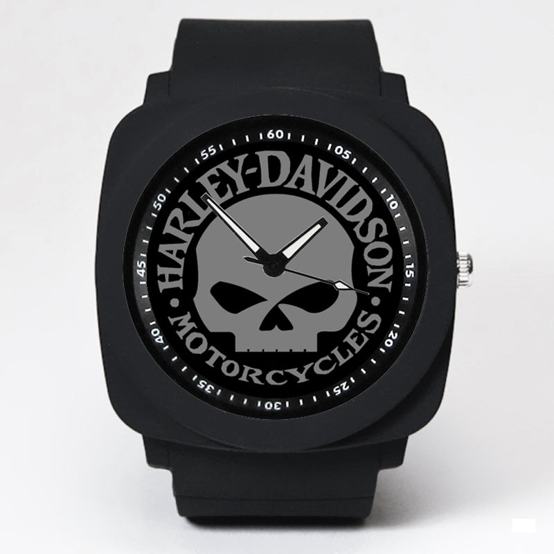 H-D Skull Logo Silicone Rubber Strap Watch