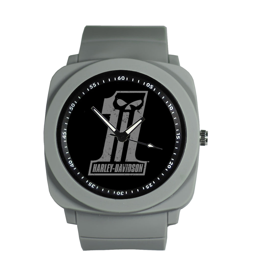 H-D Punisher Skull Logo Silicone Rubber Strap Watch