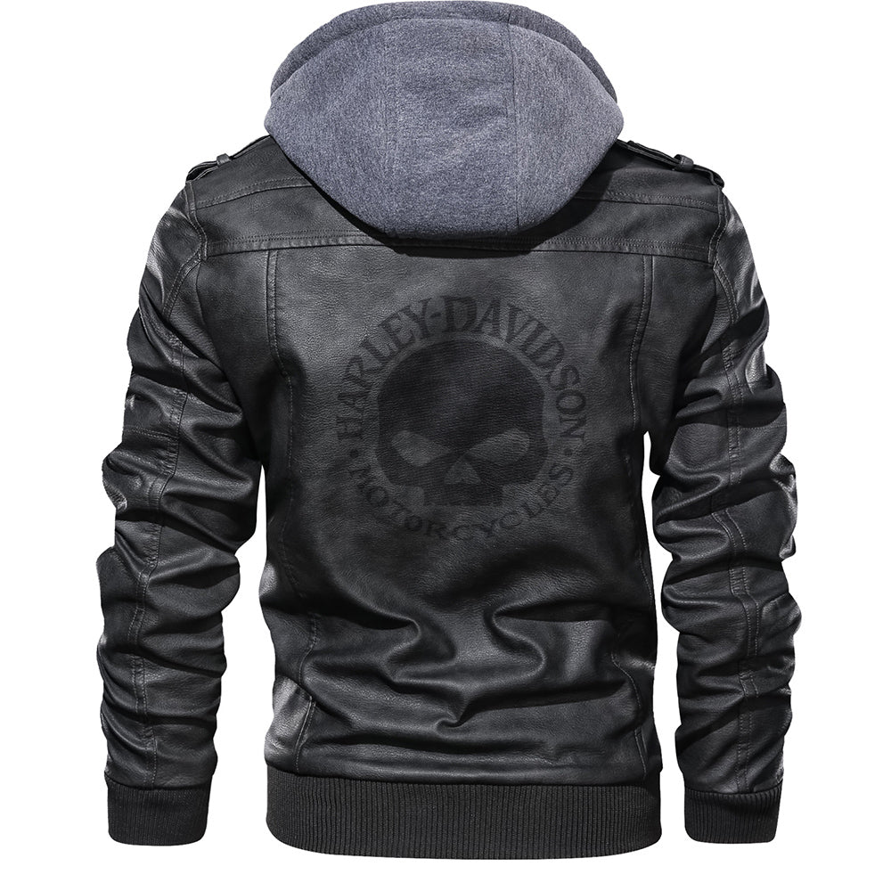H-D Logo PU Leather Jacket