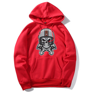 Moto Piston Skull Cotton Hoodie for Riders