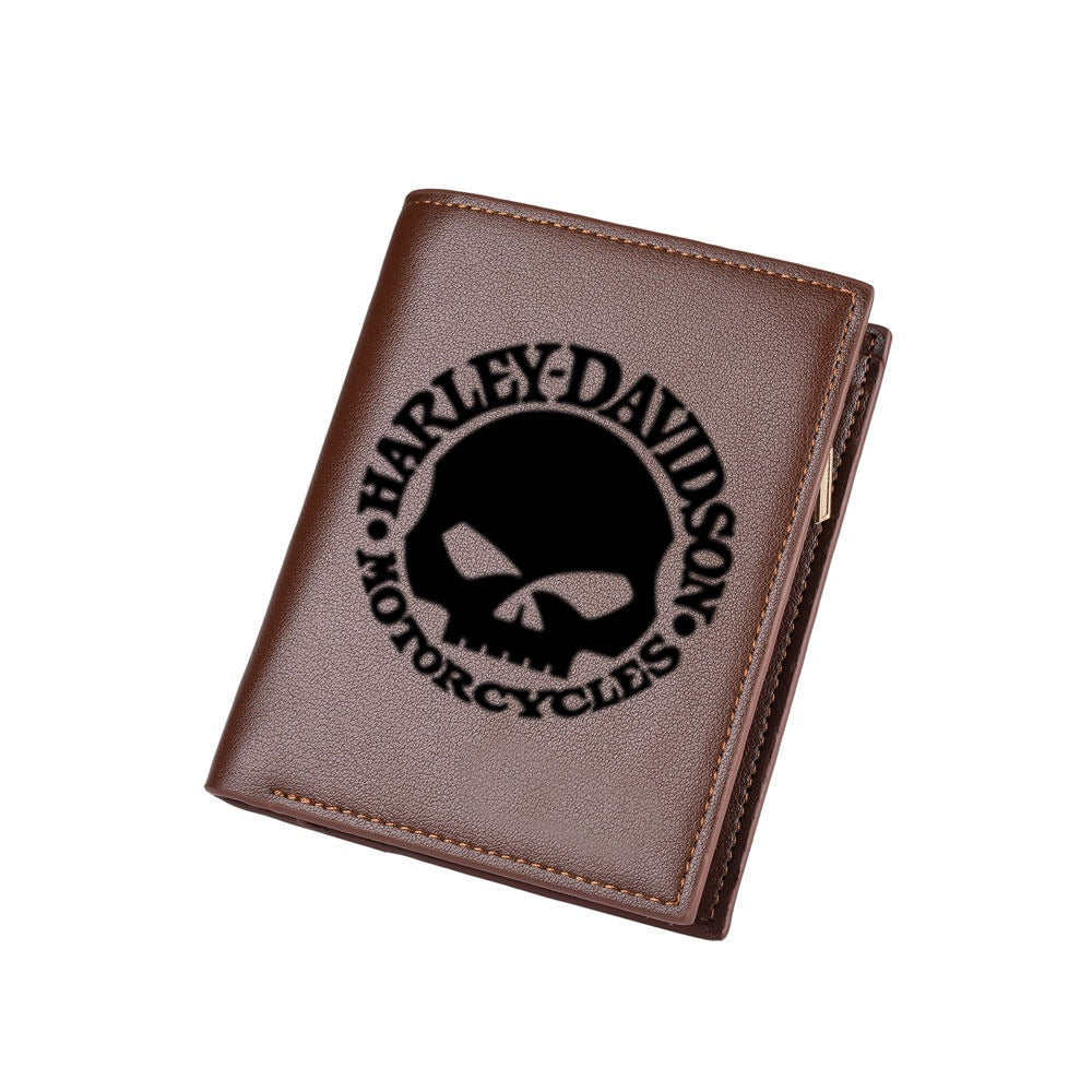 H D Skull Logo PU Leather Wallet