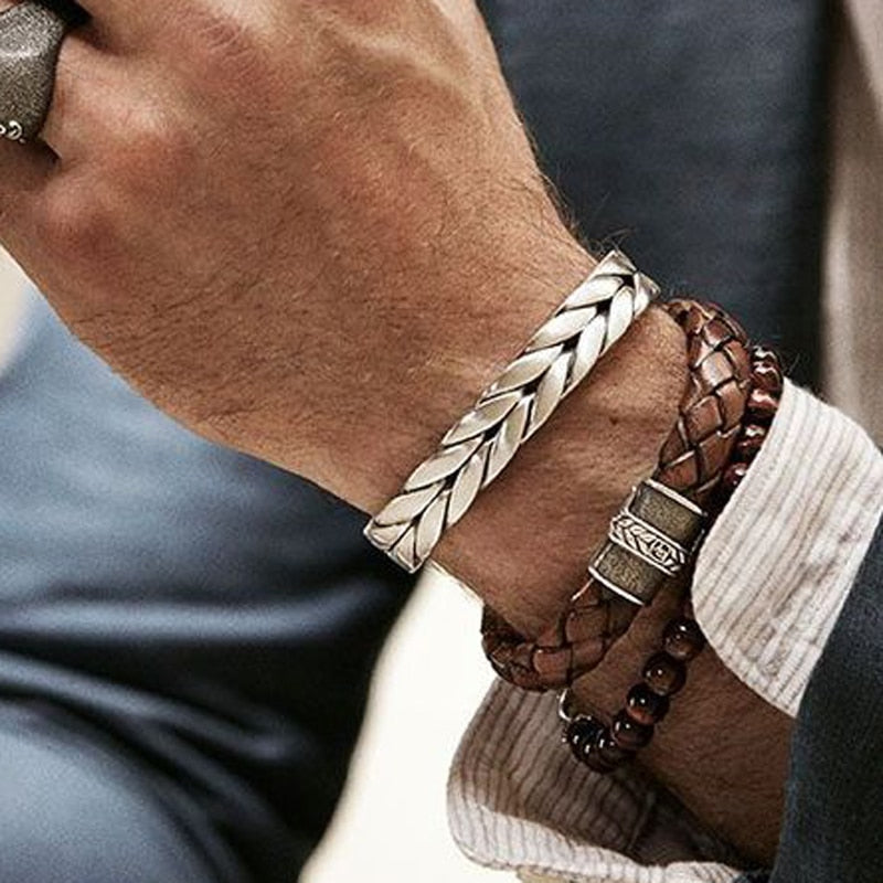 Braided Steel Three layer Leather Bracelet