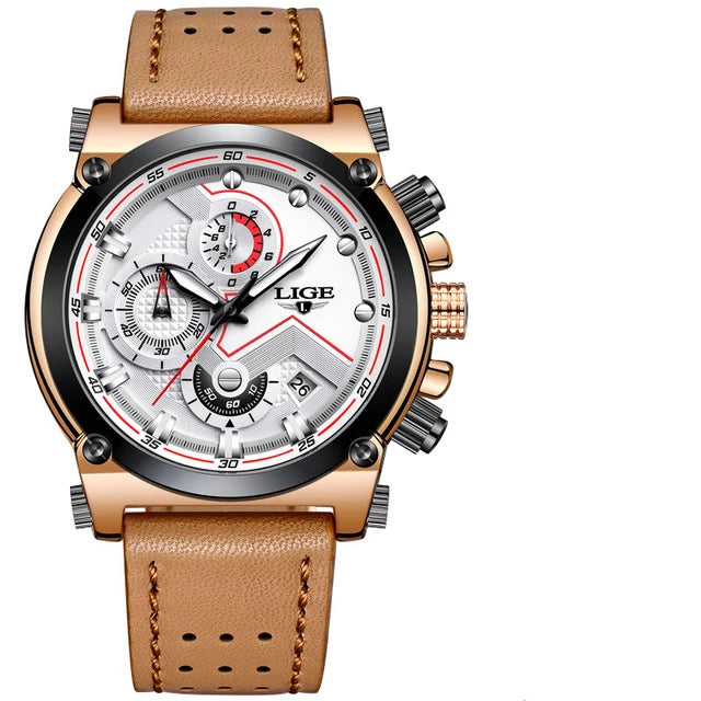 Leather Strap Automatic Date Waterproof Watch