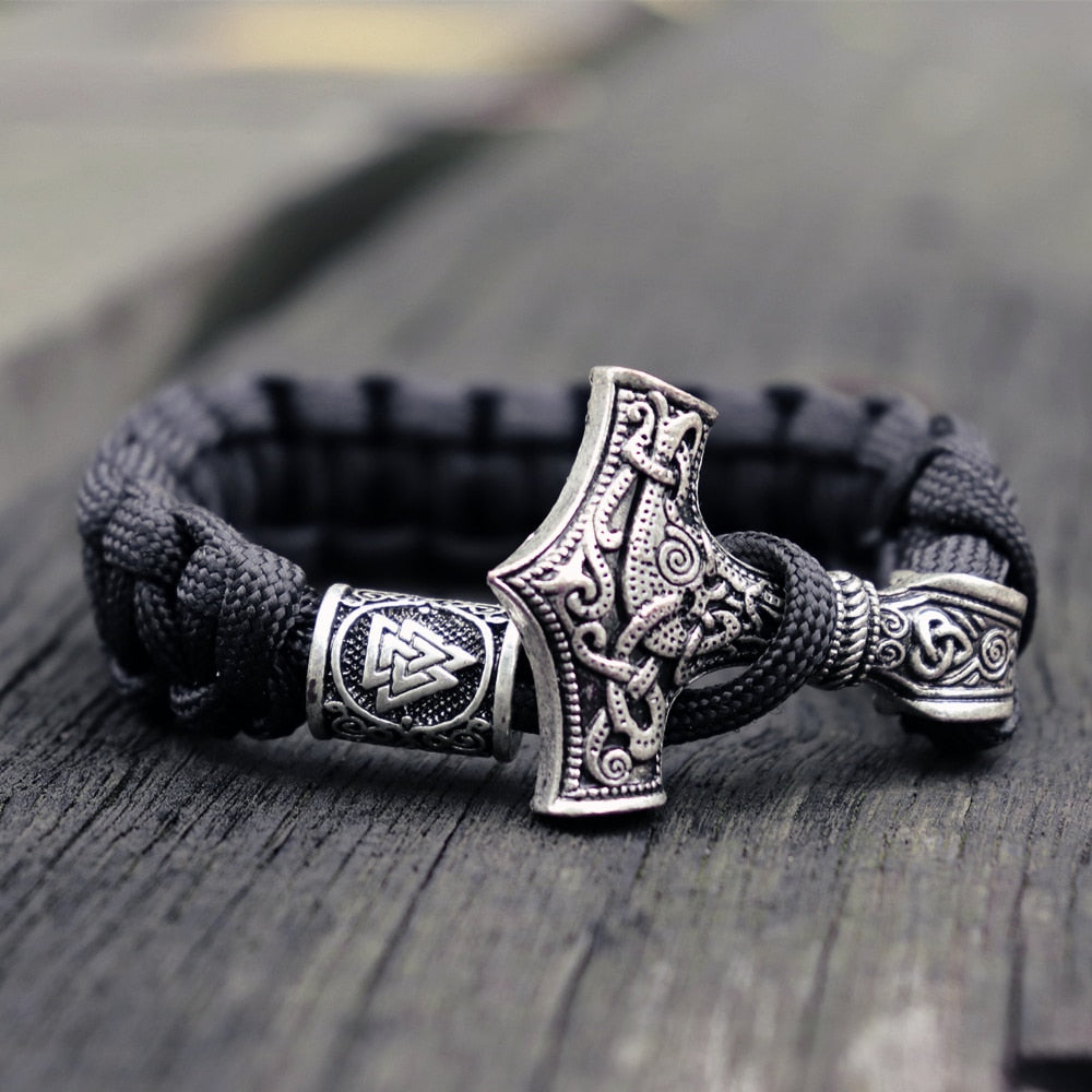 Thor Hammer Viking Leather Bracelet