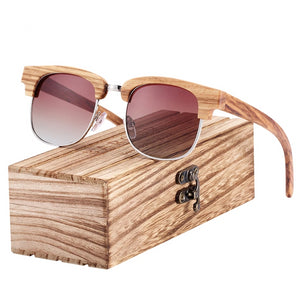 Wood Gradient Glass Sunglasses with Wooden Box