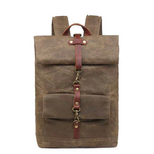 Retro Stylish Oil Wax Canvas Leather Backpack