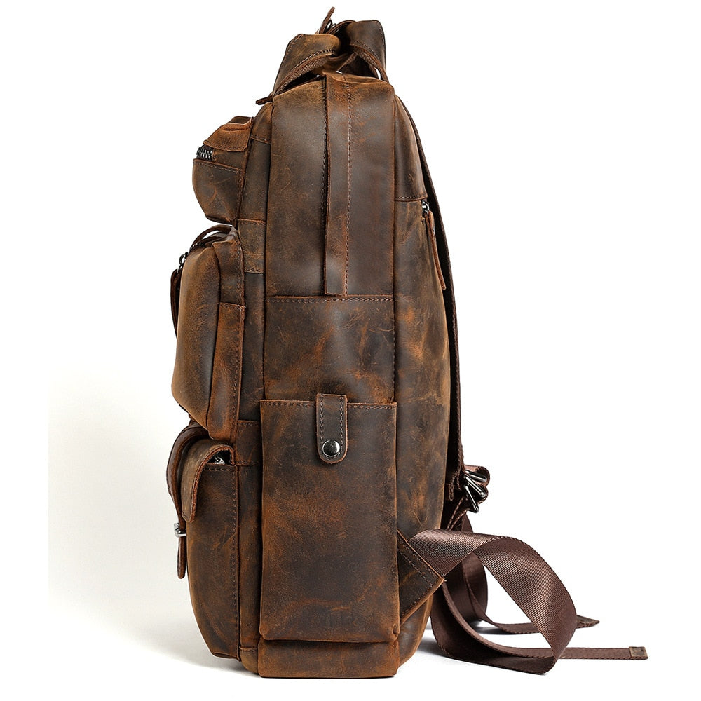 Retro Crazy Horse Leather Backpack